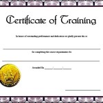 Training Certificate Template free Sample