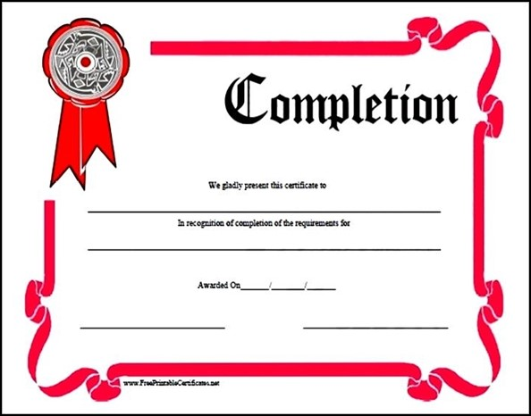 Sample course completion certificate template costumepartyrun training completion certificate template sample yelopaper Image collections