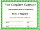 Work Completion Certificate Template Example