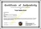 ertificate of Authenticity Sample