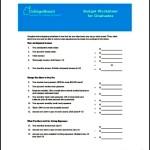 Budget Worksheet for Graduates Free Download