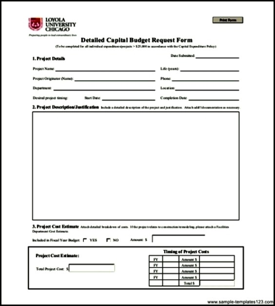 Capital Expenditure Budget Template Pdf Format