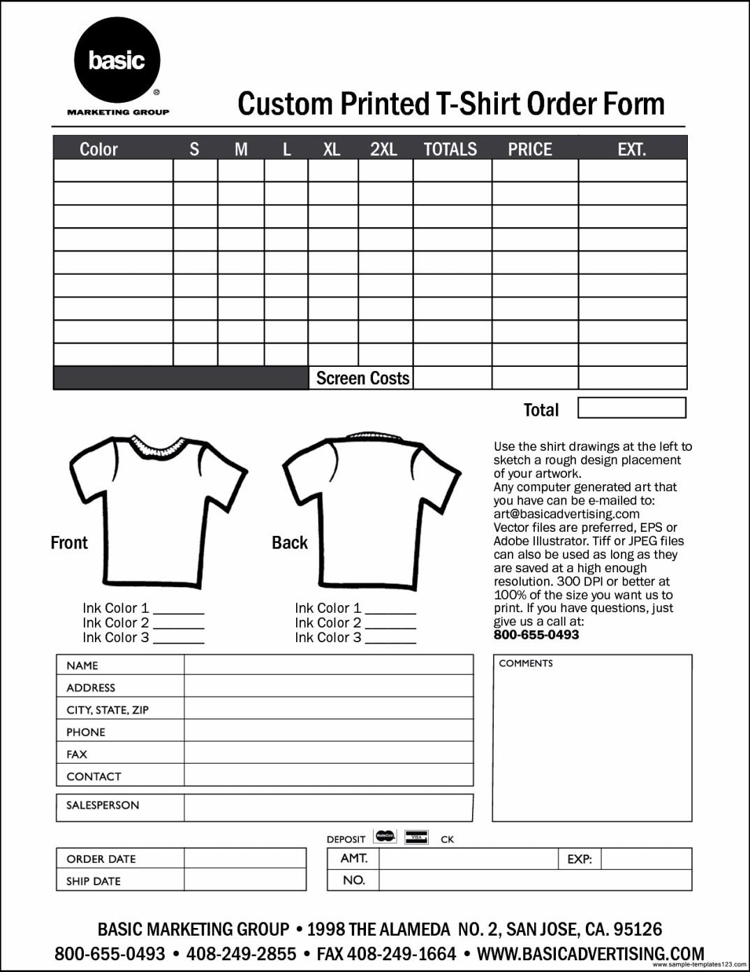 Custom T Shirt Order Form Template Sample Templates