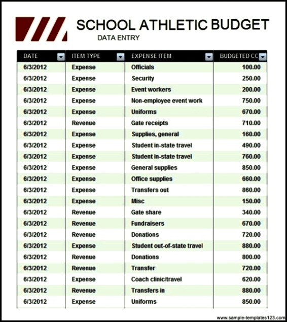 high school athletic budget free download sample templates