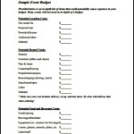 Sample Blank Event Budget Template PDF Download