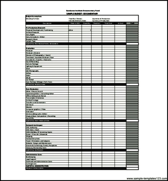 Sample Documentary Film Budget Template PDF   Sample Templates .