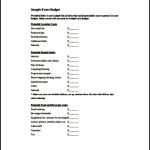 Sample Event Budget Template PDF
