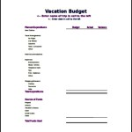 Sample Vacation Travel Budget Template