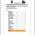 Simple Household Budget Template PDF Free Download