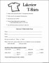Simple T-Shirt Order Form Template Microsoft Word
