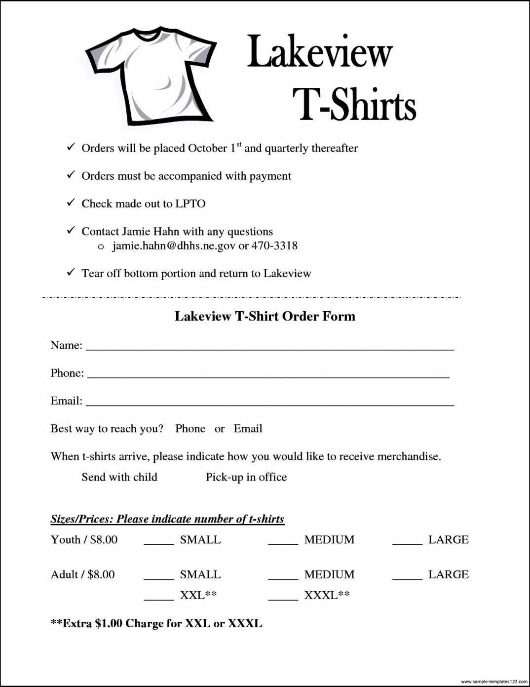 Simple T Shirt Order Form Template Microsoft Word Sample Templates