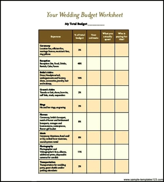 Wedding Budget Template With Percentages Pdf Download Sample