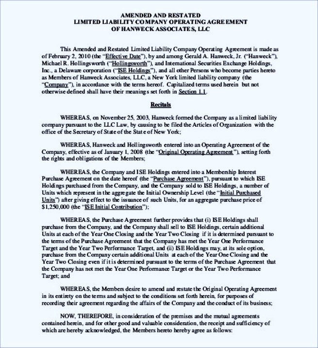 A R LLC Operating Agreement Template PDF Format