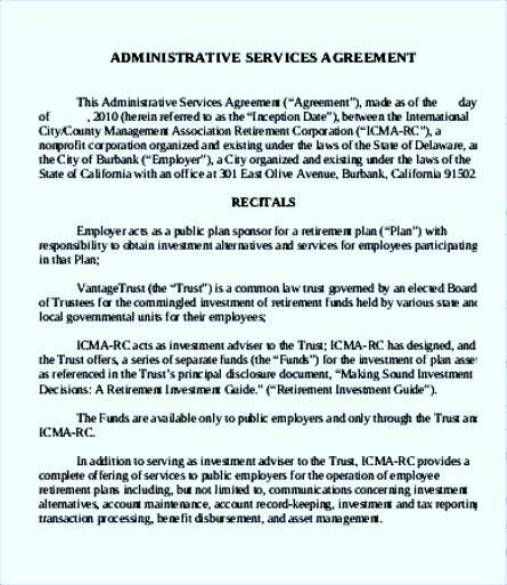 Administrative Administrative Services Agreement Template