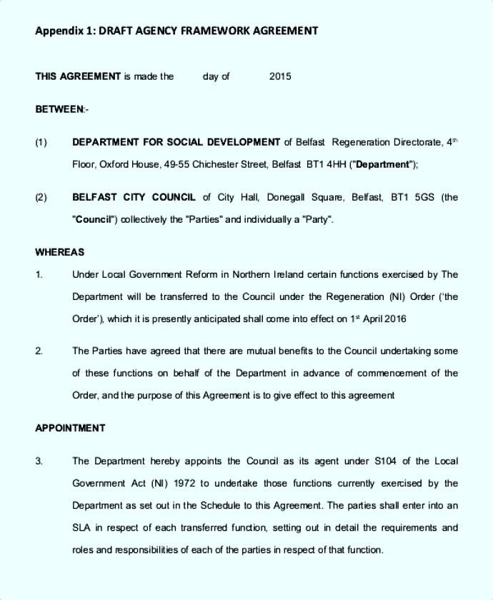 Agency Framework Agreement Template