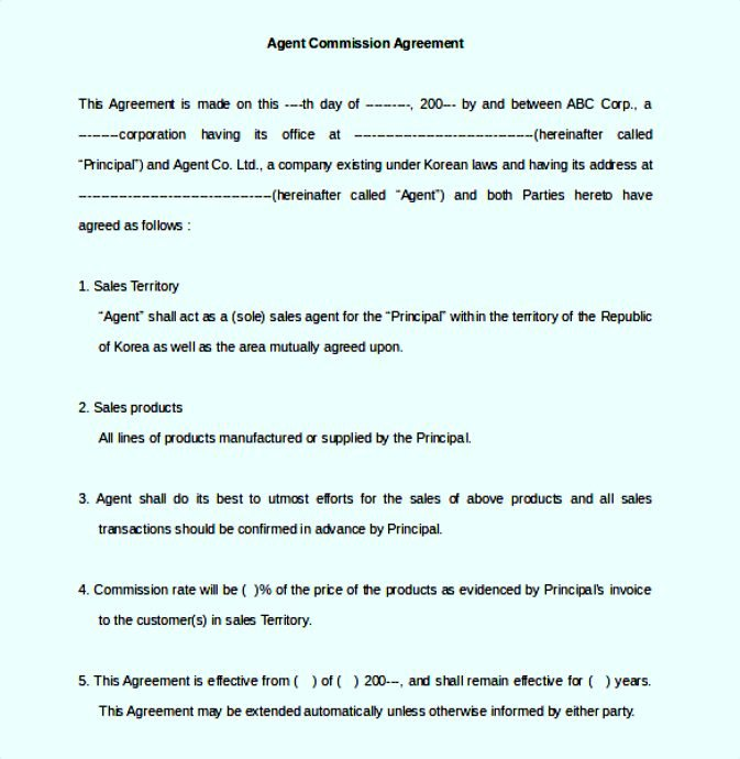 Agent Commission Agreement Template PDF Format Free