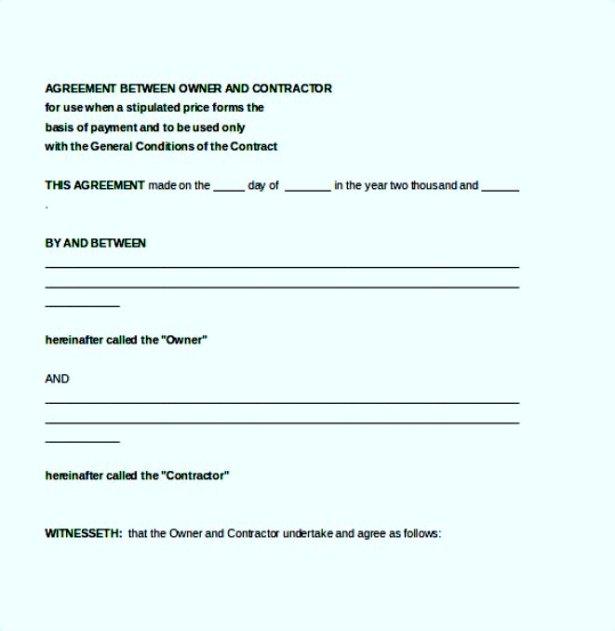 Agreement Between Contractor Owner Document