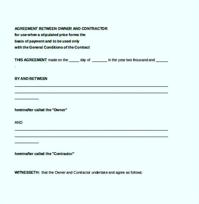 Agreement Between Contractor Owner Template Free