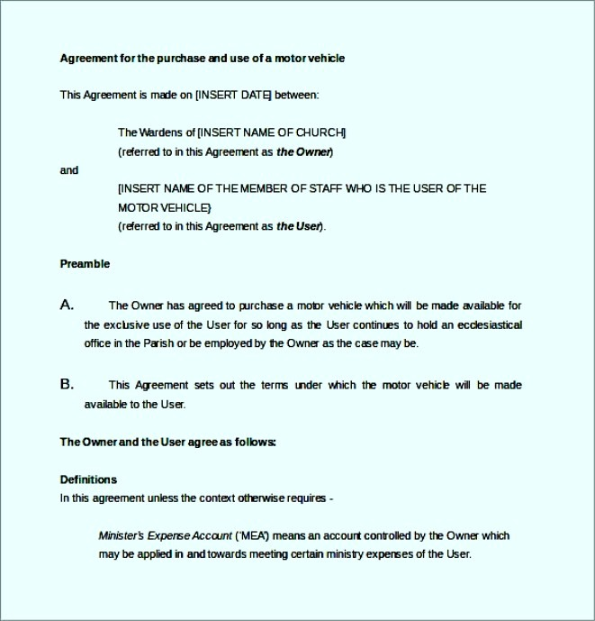 Agreement For The Purchase Motor Vehicle Word Document