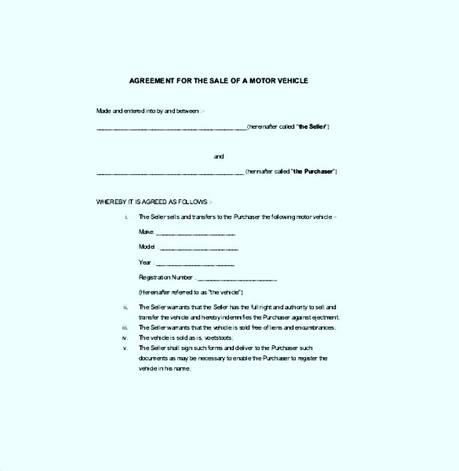 Agreement For The Sales of Motor Vehicle Template