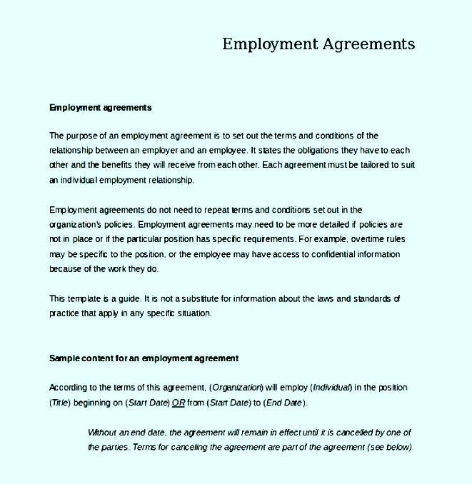 Agreements To Employee Contract Template