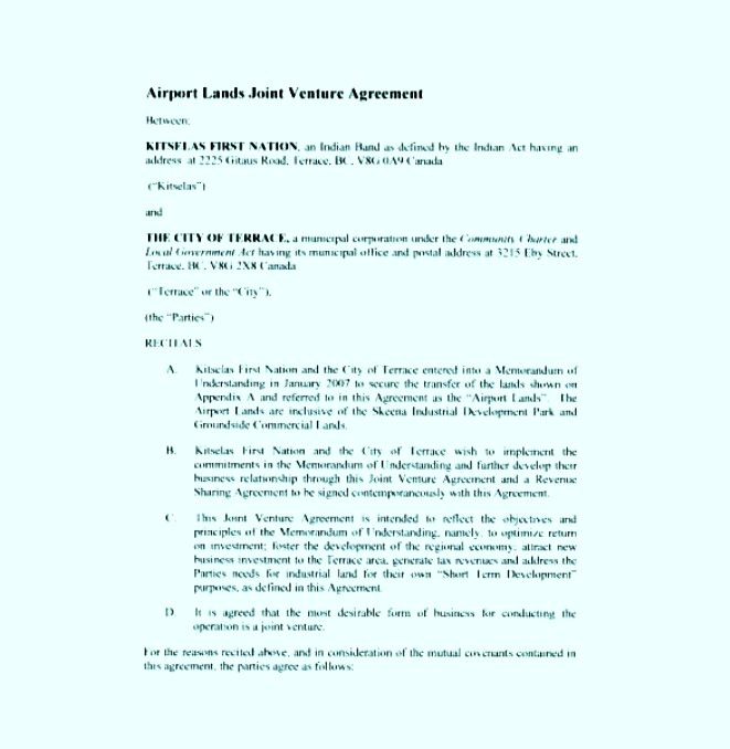 Airport Lands Joint Venture Agreement PDF Format