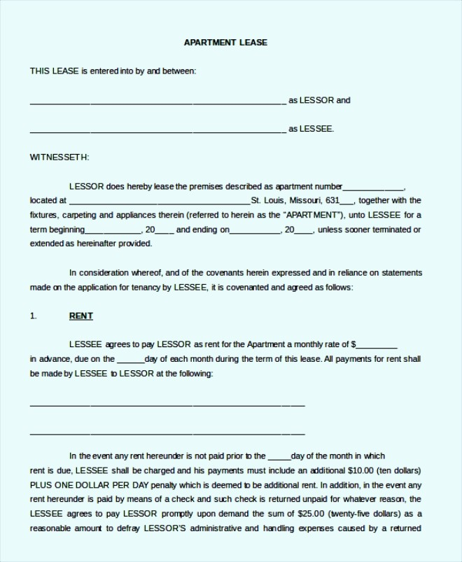 Apartment Lease Blank Agreement Form Template