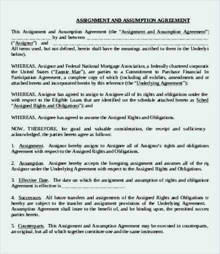 Assumption Assignment Agreement Template Sample