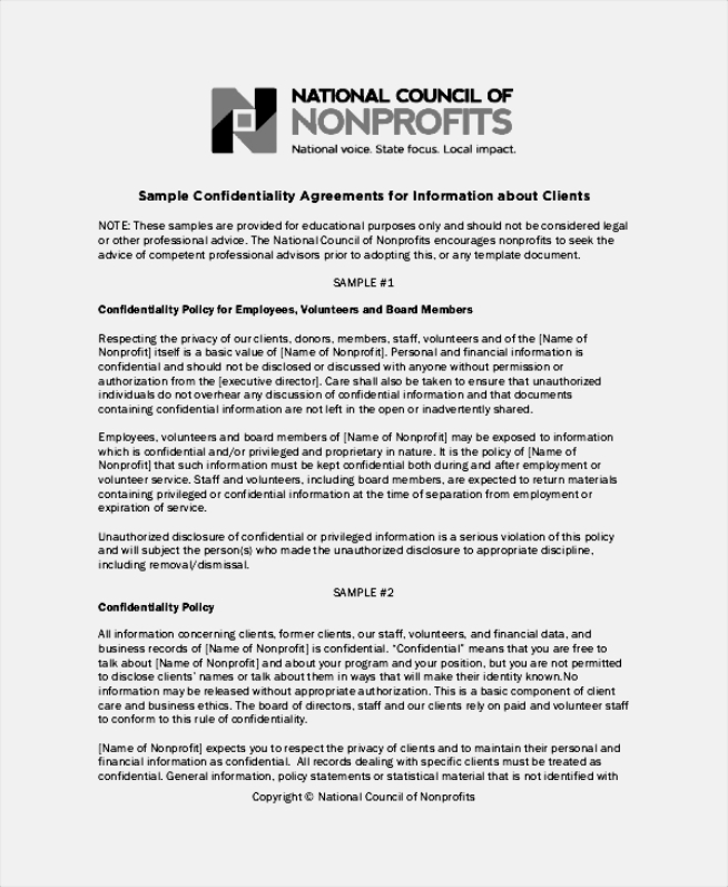 Financial Confidentiality Agreement Template Mandegarinfo - Confidentiality policy template