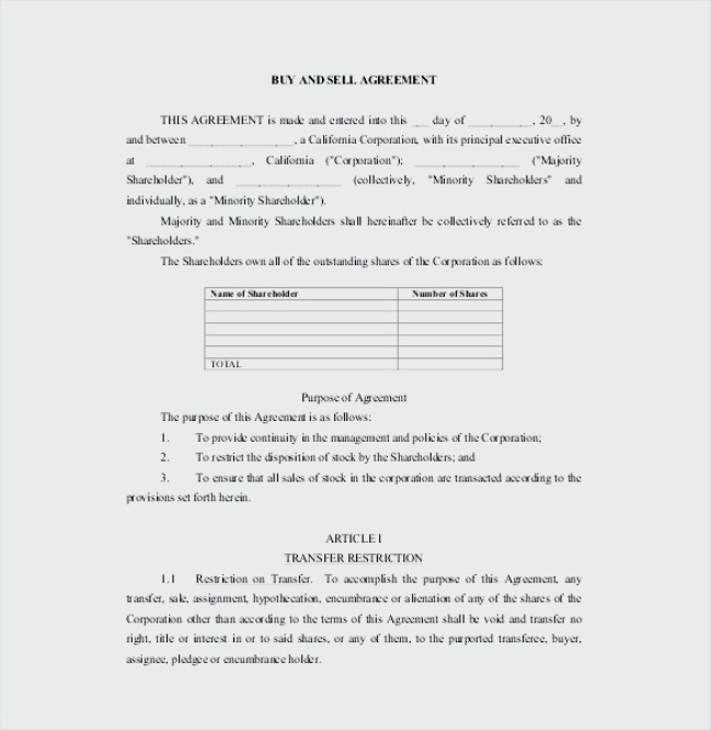 Buy And Sell Agreement Template Pdf Format Sample Templates