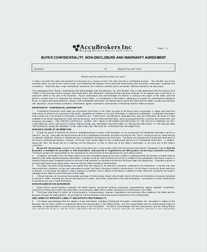 Buyers\' Vendor Confidentiality Agreement Sample - Sample Templates ...