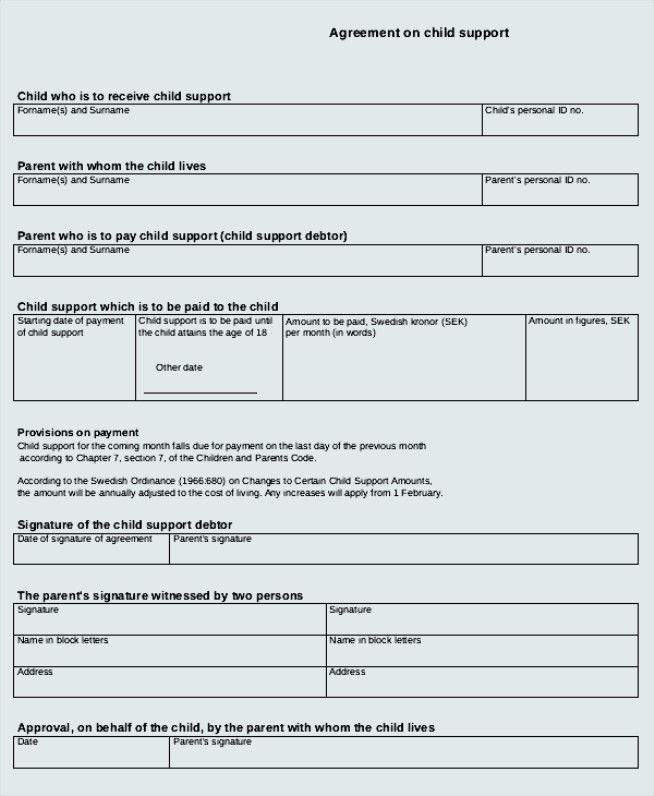 Beau Sample Child Support Agreement Templates To Download