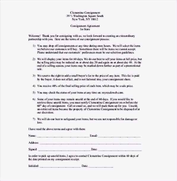 Consignment Agreement in Store Template PDF Format Free