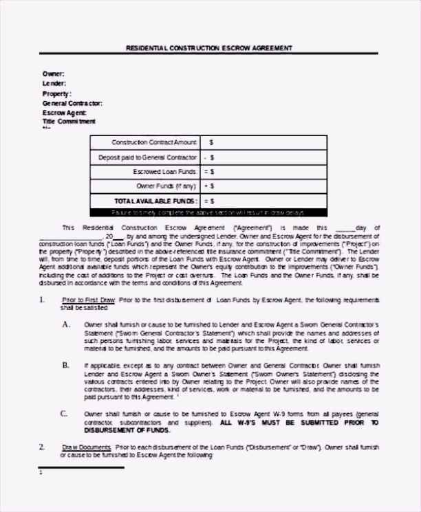 Construction Escrow Agreement Template