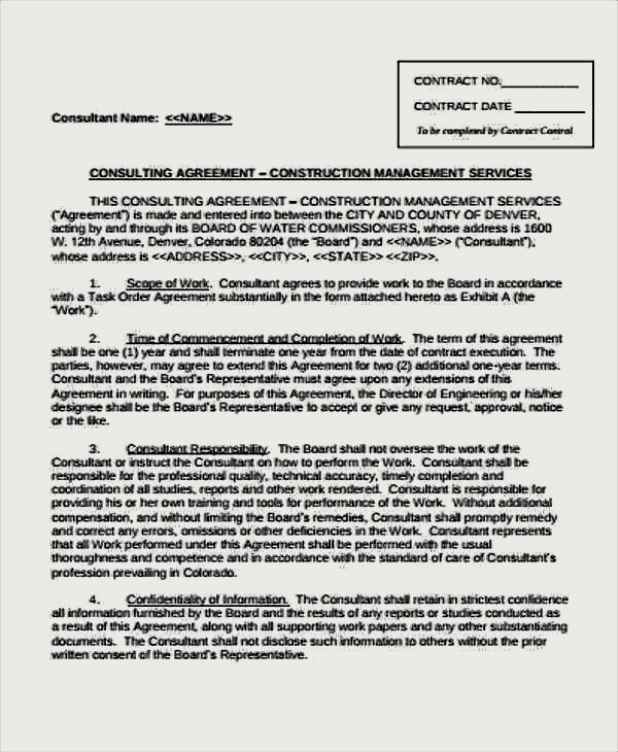 Construction Management Consulting Agreement Template  Sample