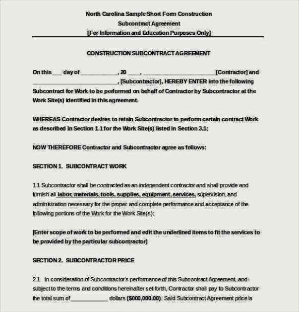 Construction Subcontractor Agreement Template Word Document Free
