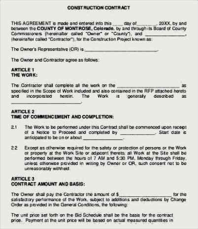 Construction Work Agreement Template