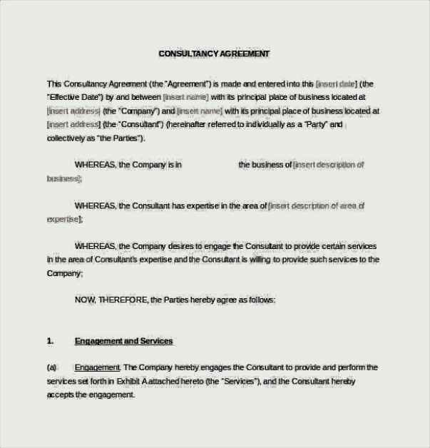 Consultancy Consulting Agreement Word Format