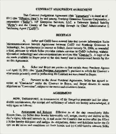 assignment of the agreement