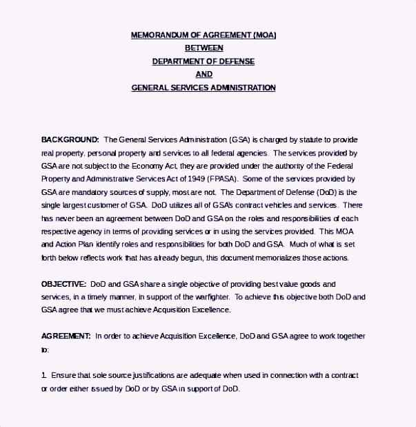 Defense Service Memorandum Agreement Template Word Document