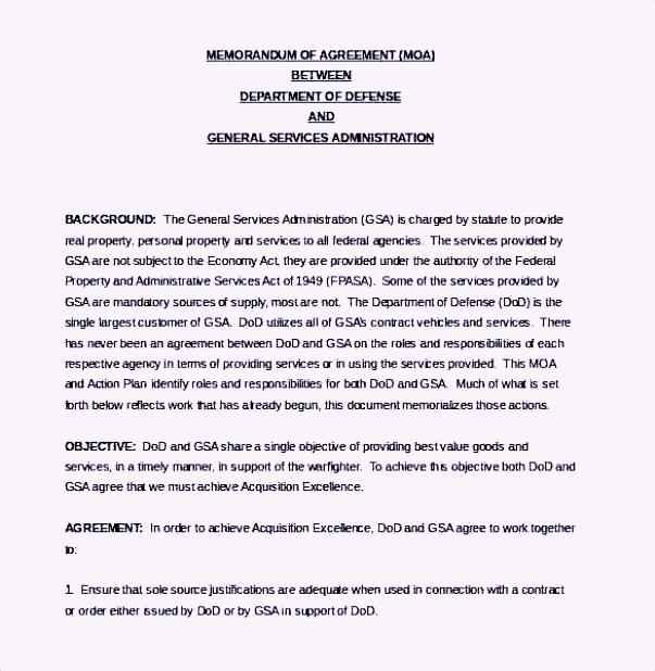 Defense Service Memorandum Agreement Template Word Document