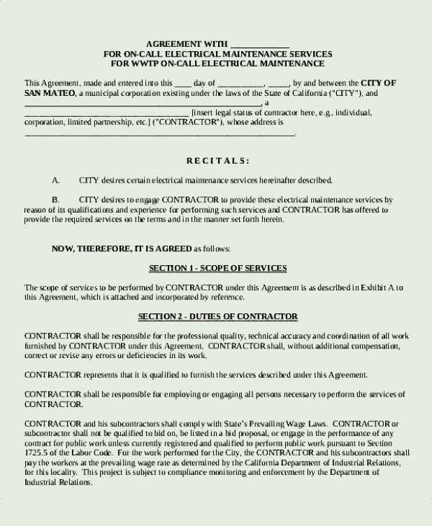 Electrical Maintenance Service Agreement Template