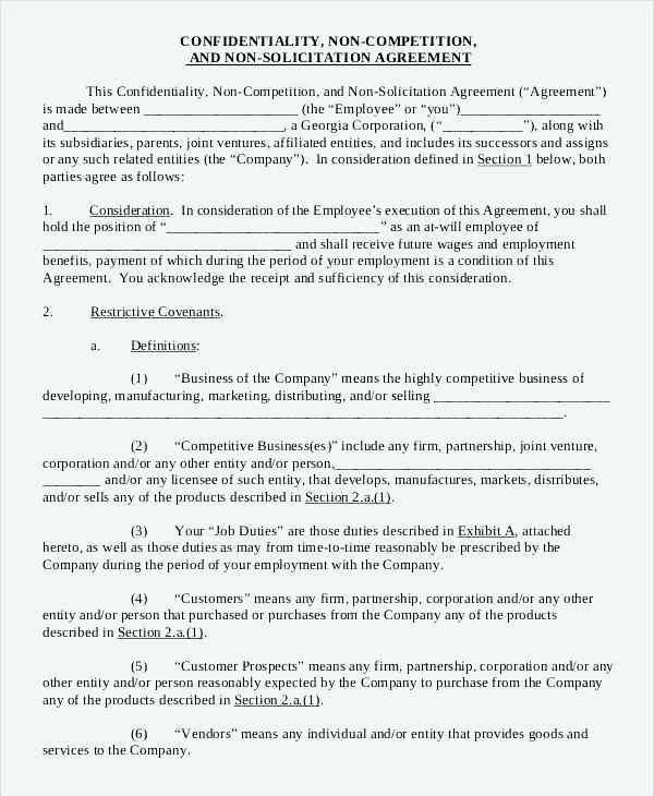Employee Confidentiality Agreement Form Template