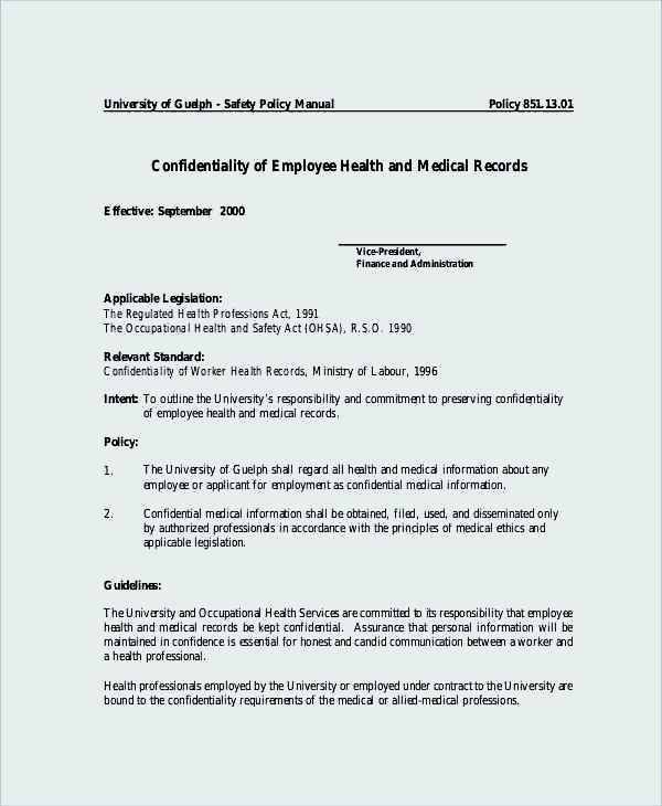 Employee Health Medical Confidentiality Agreement Example