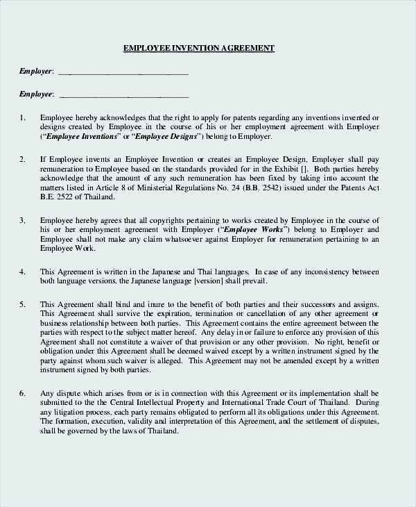 Employee Invention Agreement Template