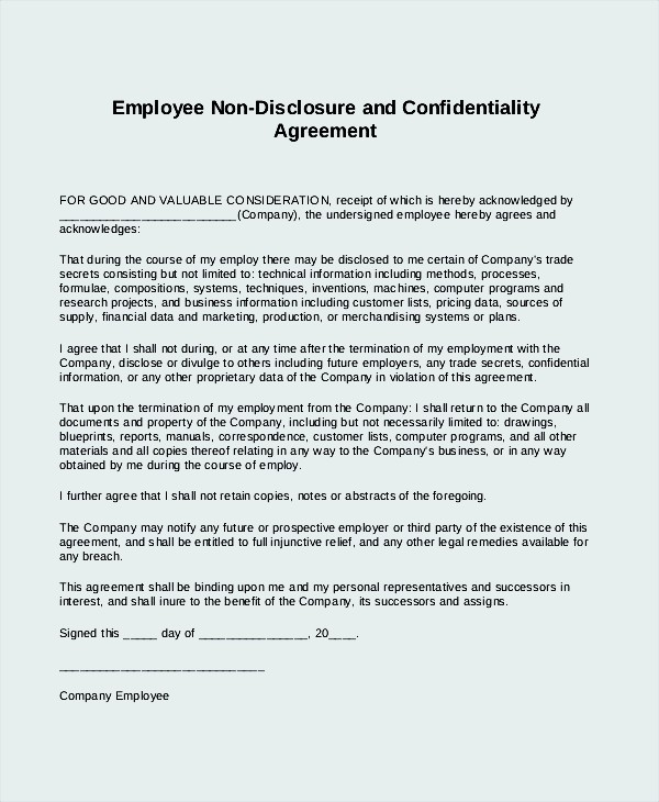 Employee Non Disclosure Agreement Form Template