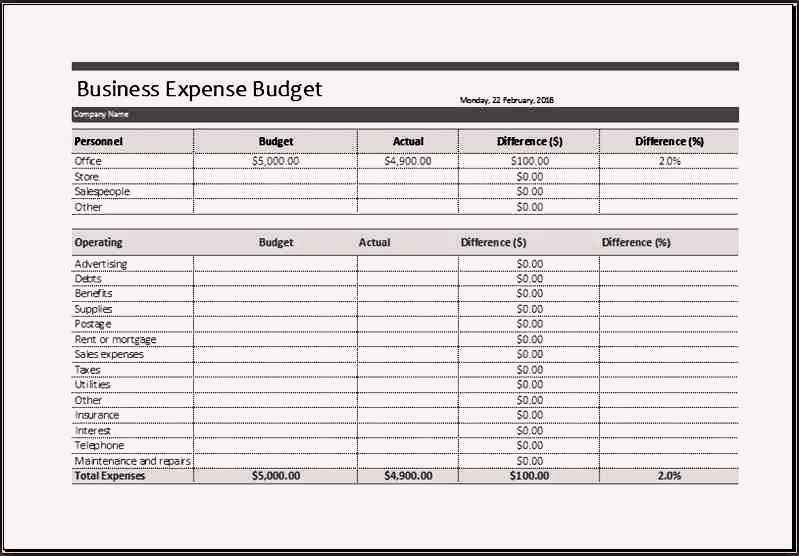 Sample Business Expense Budget Template Excel - Sample ...
