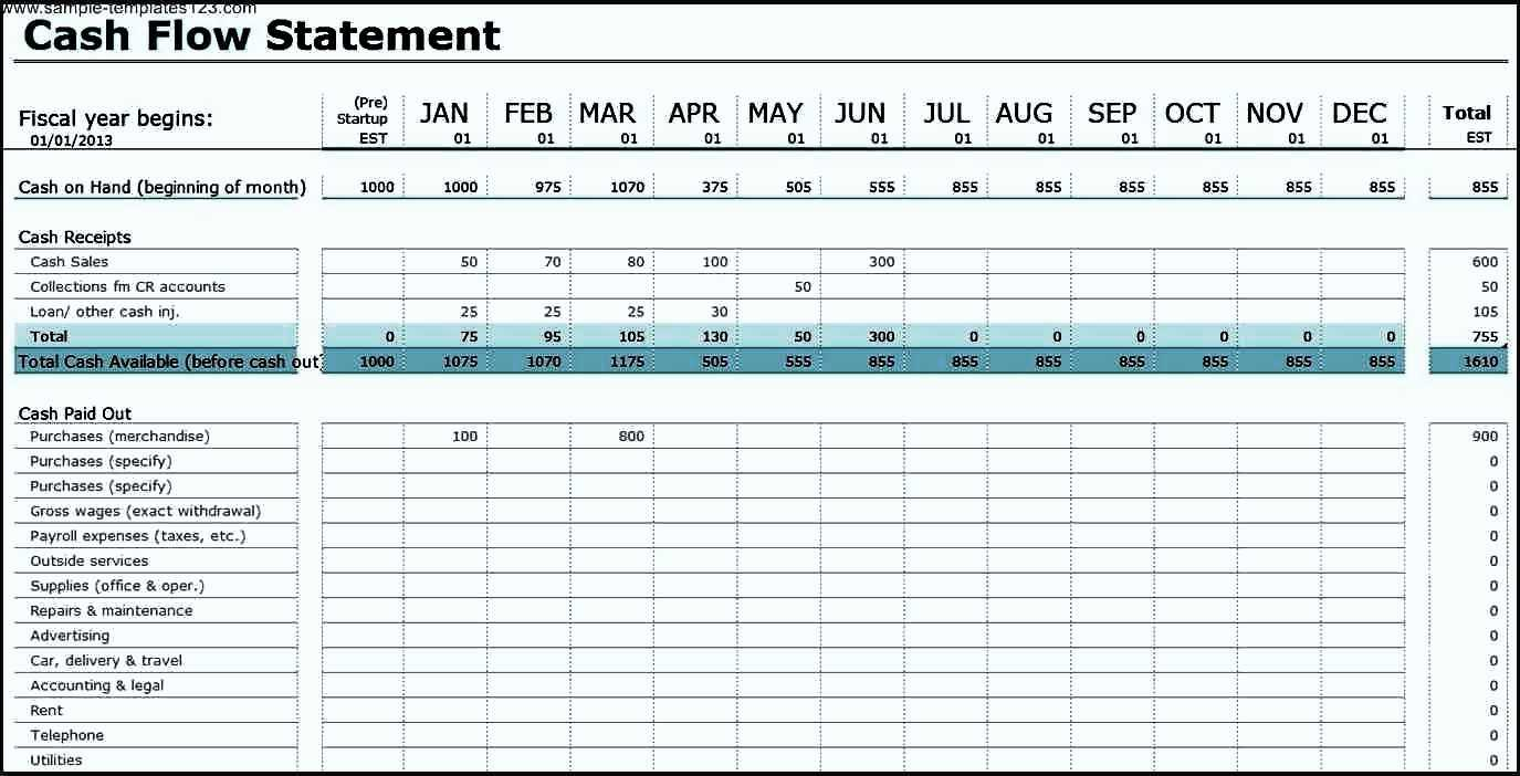 cash flow analysis excel template sample templates