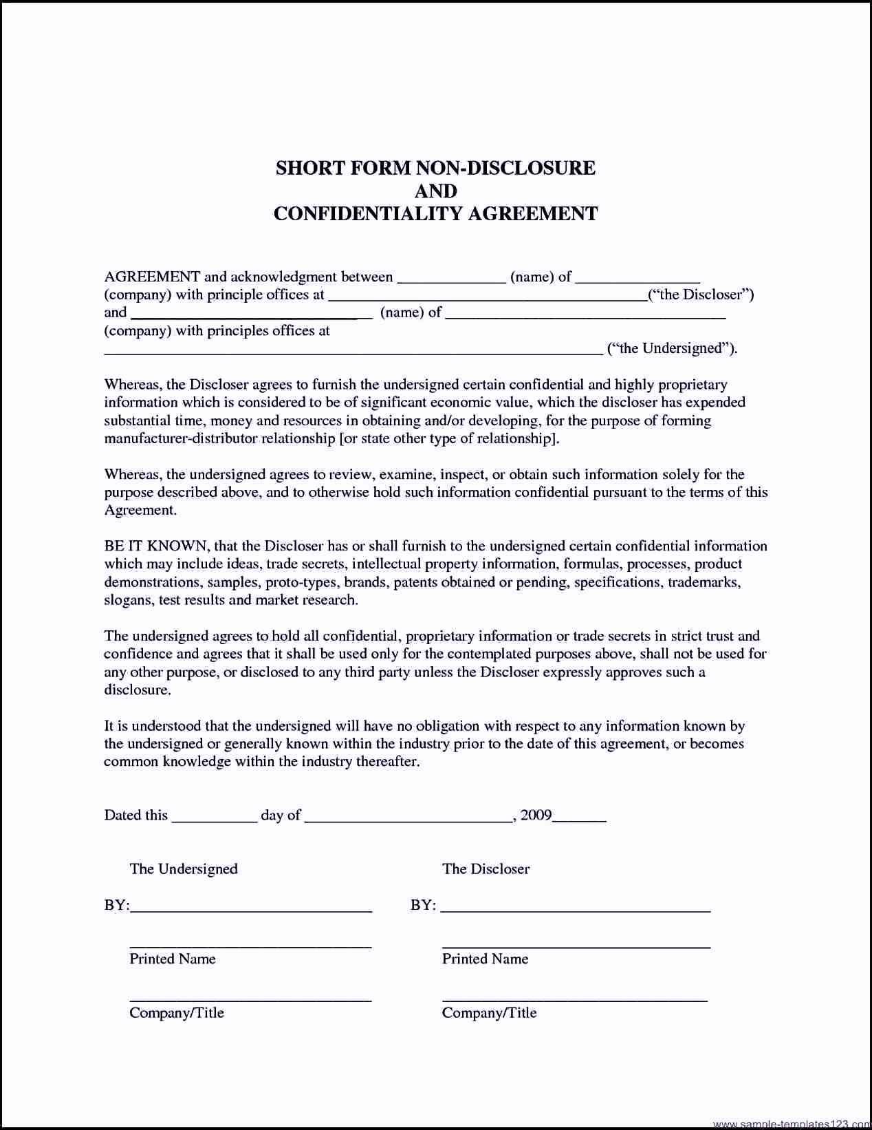 Non Disclosure Agreement California Template