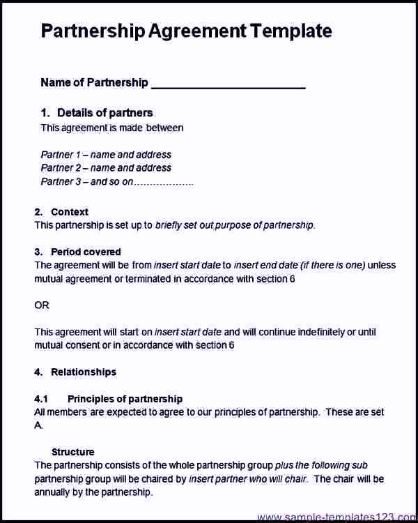 Project Partnership Agreement Template